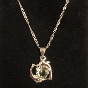Jewelry - Dolphin Duo Light Green Crystal Silver Necklace